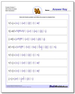 Fraction Worksheet Division Worksheet with Wholes
