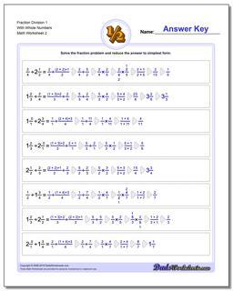 Fraction Worksheet Division Worksheet 1 With Whole Numbers www.dadsworksheets.com/worksheets/fraction-division.html