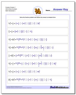Fraction Worksheet Division Worksheet 1 With Whole Numbers