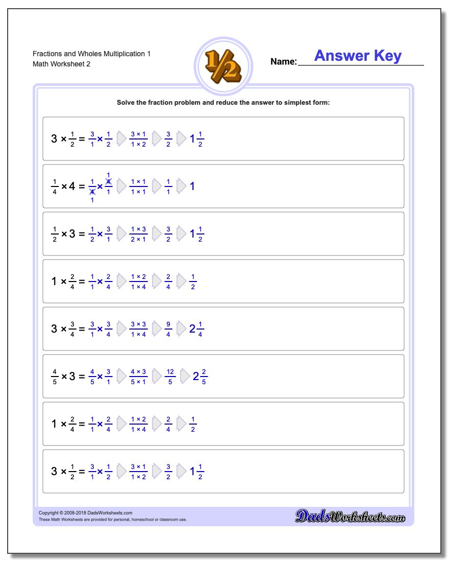 Fraction Worksheets and Wholes Multiplication Worksheet 1 www.dadsworksheets.com/worksheets/fraction-multiplication.html