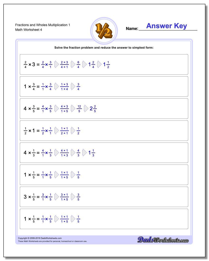 Fraction Worksheets and Wholes Multiplication Worksheet 1