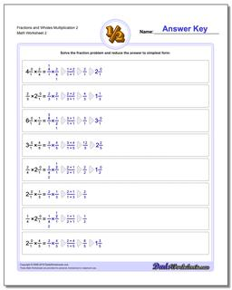 Fraction Worksheets and Wholes Multiplication Worksheet 2 www.dadsworksheets.com/worksheets/fraction-multiplication.html