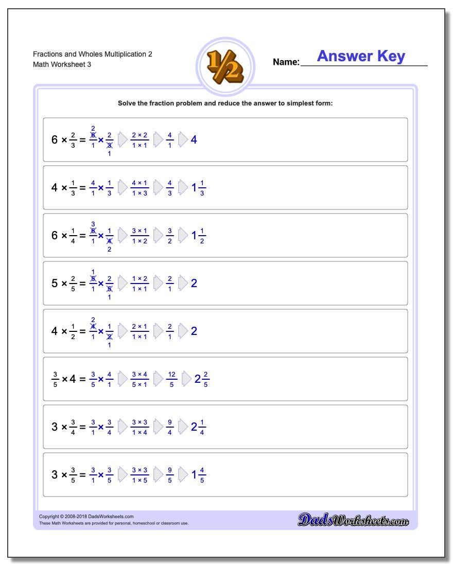 Fraction Worksheets and Wholes Multiplication Worksheet 2