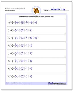 Multiplying Fraction Worksheets and Wholes Multiplication Worksheet 3