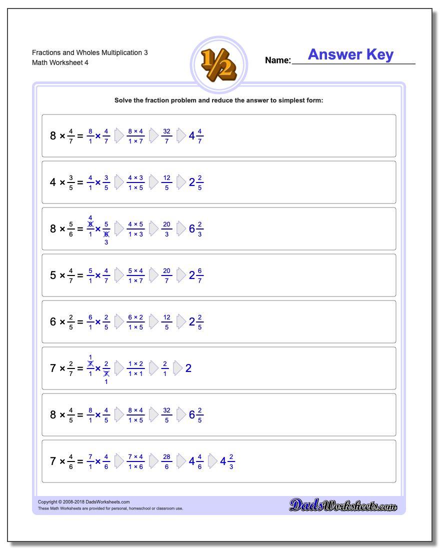 Fraction Worksheets and Wholes Multiplication Worksheet 3