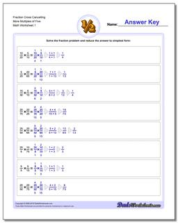Fraction Worksheet Cross Cancelling More Multiples of Five Multiplying Fractions
