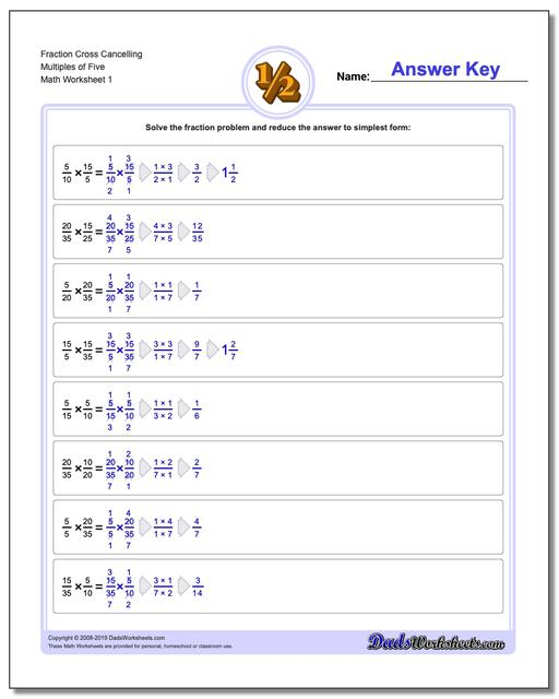 Fraction Worksheets Cross Cancelling Multiples of Five Multiplying Fractions