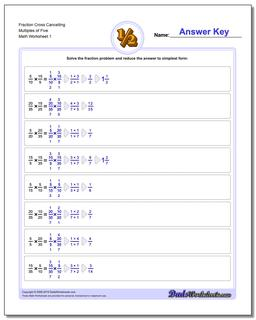 Fraction Worksheet Cross Cancelling Multiples of Five Multiplying Fractions