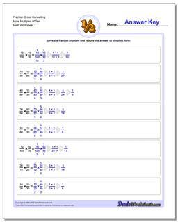Fraction Worksheet Cross Cancelling More Multiples of Ten Multiplying Fractions