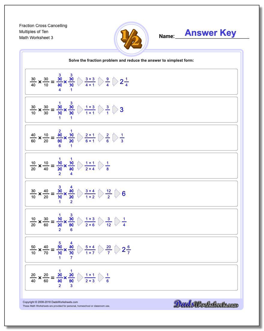 Fraction Worksheet Cross Cancelling Multiples of Ten