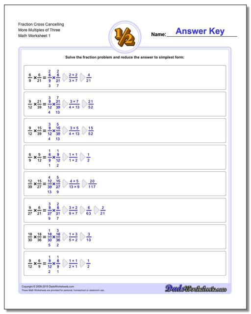 Fraction Worksheets Cross Cancelling More Multiples of Three Multiplying Fractions