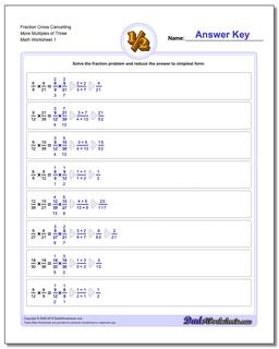 Fraction Worksheet Cross Cancelling More Multiples of Three Multiplying Fractions