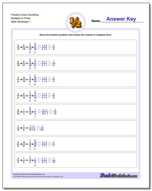 Fraction Worksheets Cross Cancelling Multiples of Three Multiplying Fractions