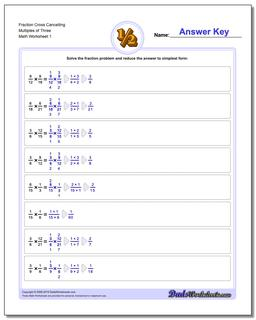 Fraction Worksheet Cross Cancelling Multiples of Three Multiplying Fractions