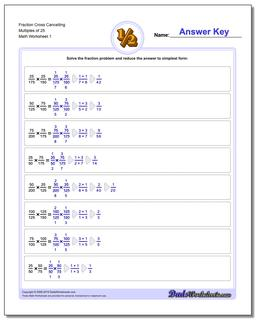 Fraction Worksheet Cross Cancelling Multiples of 25 Multiplying Fractions