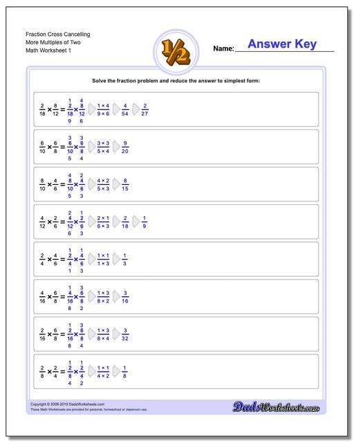 Fraction Worksheets Cross Cancelling More Multiples of Two Multiplying Fractions