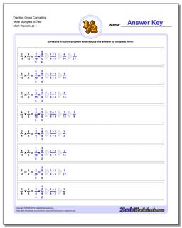 Fraction Worksheet Cross Cancelling More Multiples of Two Multiplying Fractions