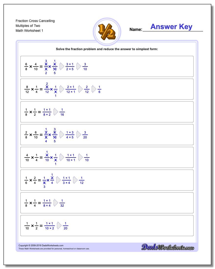 Fraction Multiplication – Multiplying Fractions and Whole Numbers Worksheets