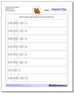Fraction Worksheet Cross Cancelling Multiples of Two www.dadsworksheets.com/worksheets/fraction-multiplication.html