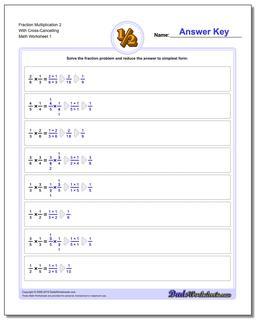 Fraction Worksheet Multiplication Worksheet 2 With Cross-Cancelling Multiplying Fractions