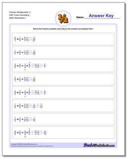 Fraction Worksheet Multiplication Worksheet 2 With Cross-Cancelling www.dadsworksheets.com/worksheets/fraction-multiplication.html