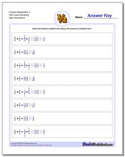 Fraction Worksheet Multiplication Worksheet 2 With Cross-Cancelling