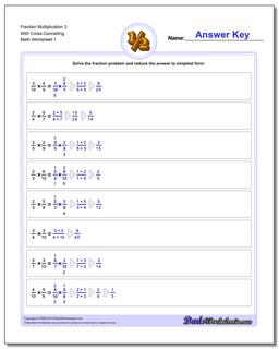 Fraction Worksheet Multiplication Worksheet 3 With Cross-Cancelling Multiplying Fractions