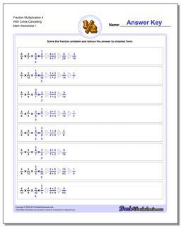 Fraction Worksheet Multiplication Worksheet 4 With Cross-Cancelling Multiplying Fractions