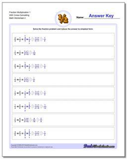 Fraction Worksheet Multiplication Worksheet 1 With Cross-Cancelling www.dadsworksheets.com/worksheets/fraction-multiplication.html