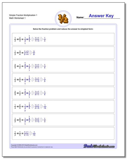 Fraction Worksheets Multiplication Worksheets Simple