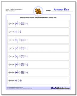 Fraction Worksheet Multiplication Worksheet Simple
