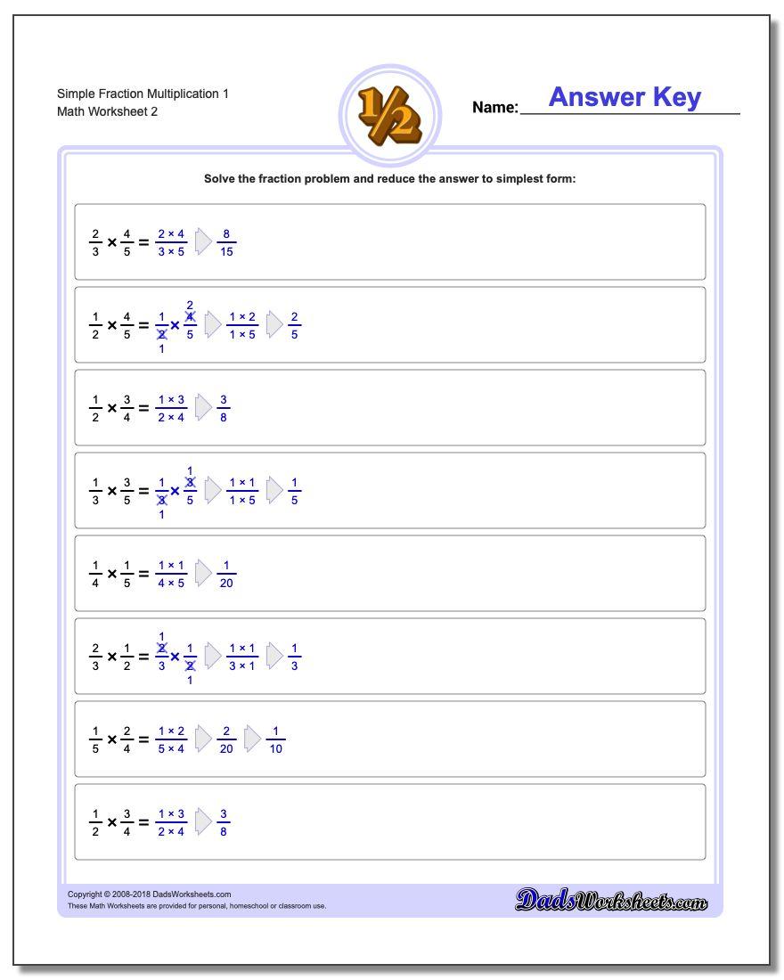 Simple Fraction Worksheet Multiplication Worksheet 1 www.dadsworksheets.com/worksheets/fraction-multiplication.html