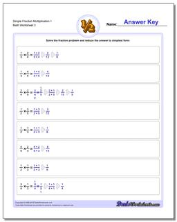 Simple Fraction Worksheet Multiplication Worksheet 1