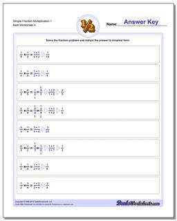 Simple Fraction Worksheet Multiplication Worksheet 1