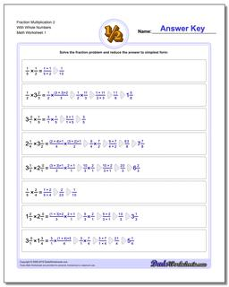 Fraction Worksheet Multiplication Worksheet 2 With Whole Numbers Multiplying Fractions