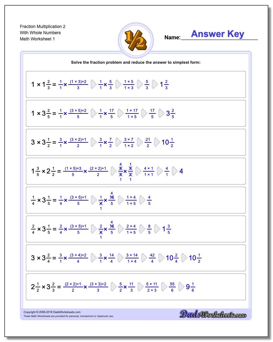 Fraction Multiplication with Wholes – Multiplying Fractions and Whole Numbers Worksheets