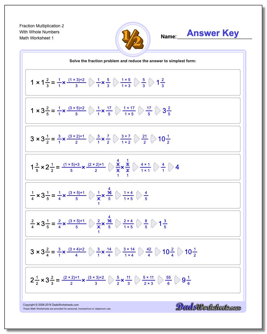 Fraction Multiplication with Wholes – Multiply Whole Numbers and Fractions Worksheet