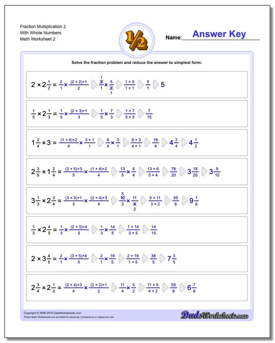 Fraction Worksheet Multiplication Worksheet 2 With Whole Numbers www.dadsworksheets.com/worksheets/fraction-multiplication.html