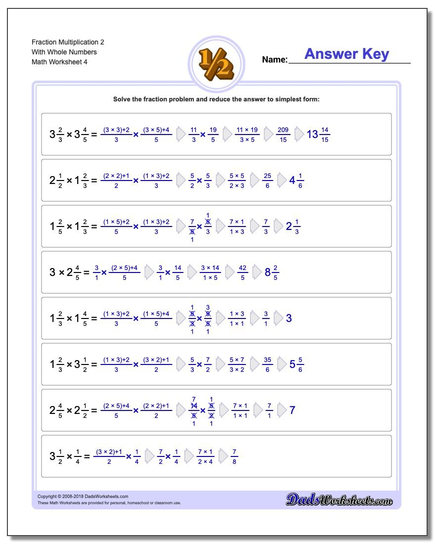 Fraction Worksheet Multiplication Worksheet 2 With Whole Numbers