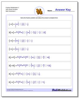 Fraction Worksheet Multiplication Worksheet 3 With Whole Numbers Multiplying Fractions