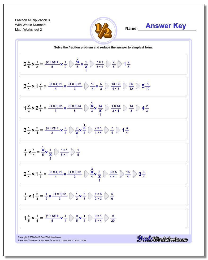 Fraction Worksheet Multiplication Worksheet 3 With Whole Numbers www.dadsworksheets.com/worksheets/fraction-multiplication.html