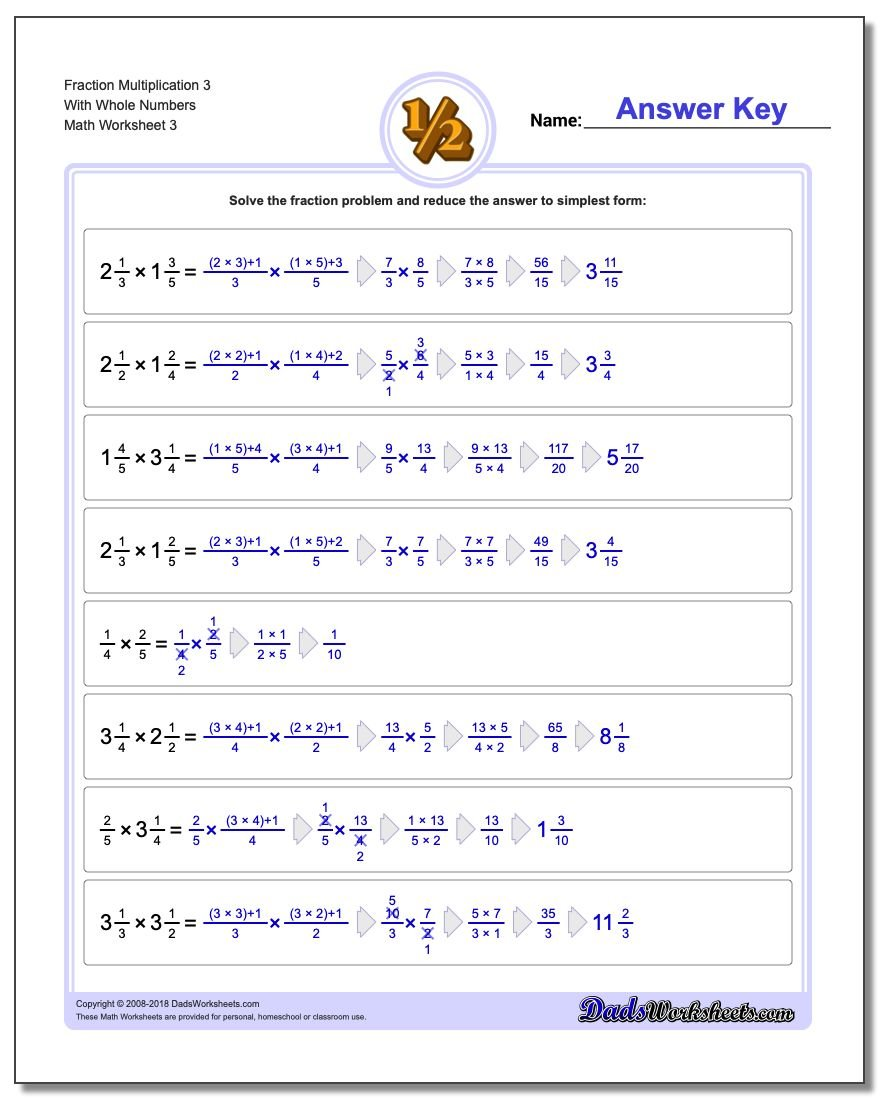 Fraction Worksheet Multiplication Worksheet 3 With Whole Numbers
