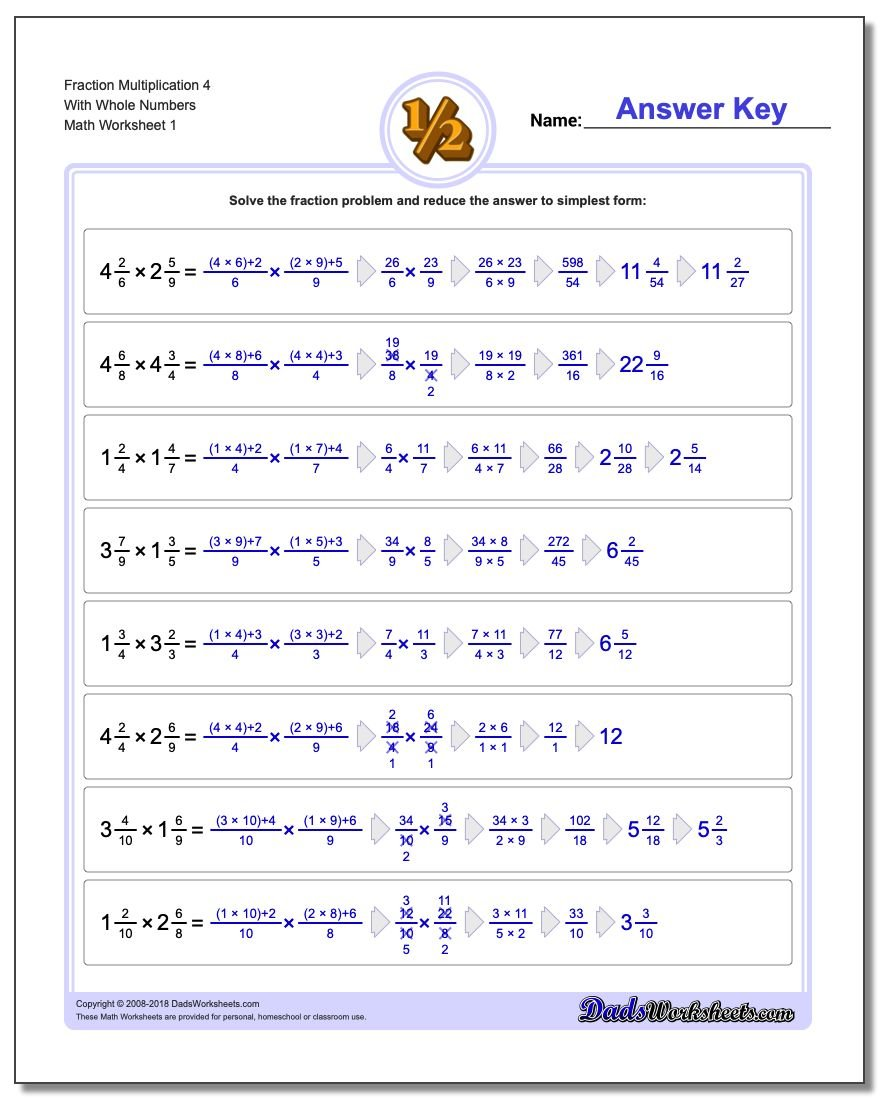 Fraction Multiplication with Wholes – Fractions of a Whole Worksheet