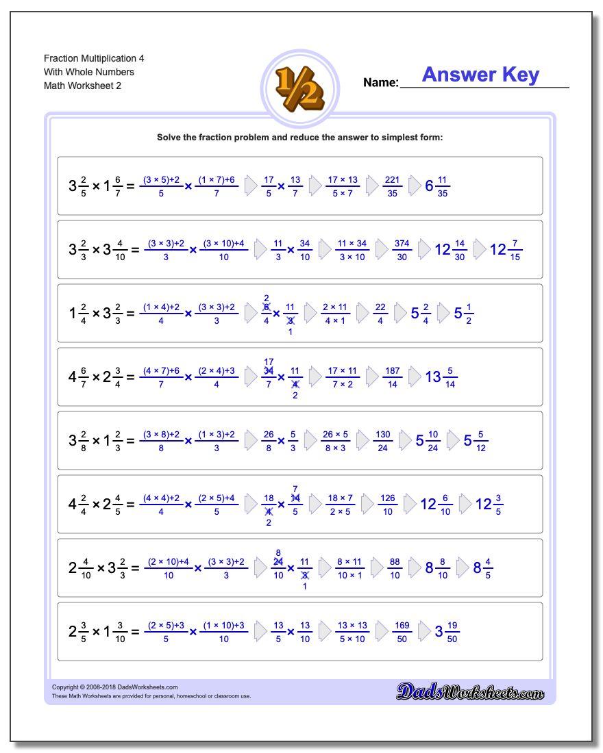 Fraction Worksheet Multiplication Worksheet 4 With Whole Numbers www.dadsworksheets.com/worksheets/fraction-multiplication.html