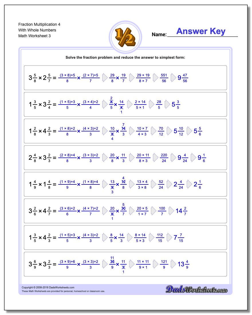 - Fraction Multiplication With Wholes