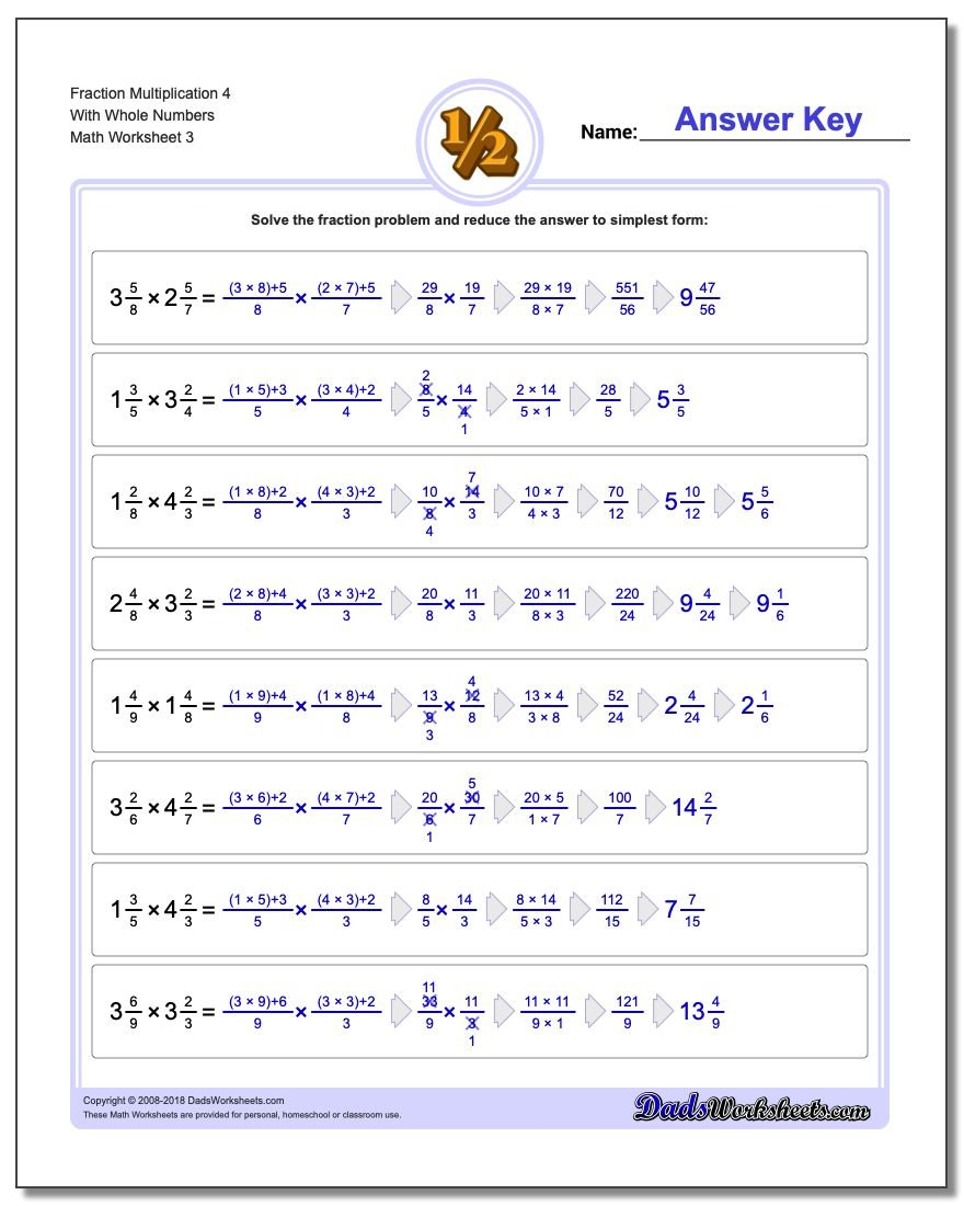 Fraction Worksheet Multiplication Worksheet 4 With Whole Numbers