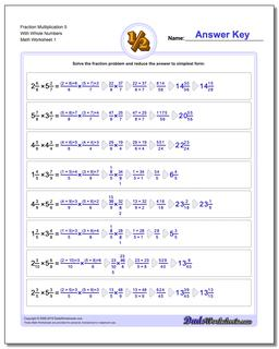 Fraction Worksheet Multiplication Worksheet 5 With Whole Numbers Multiplying Fractions