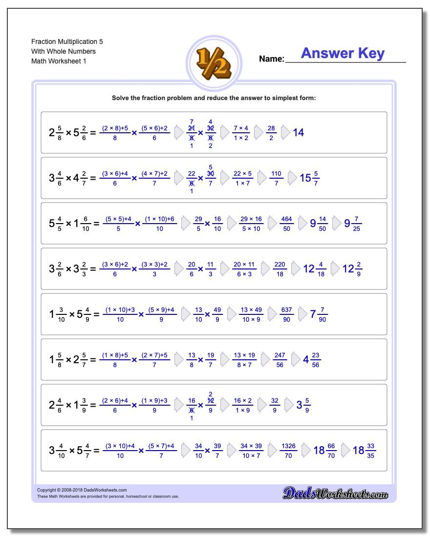 Fraction Multiplication with Wholes – Multiply Fraction Worksheet