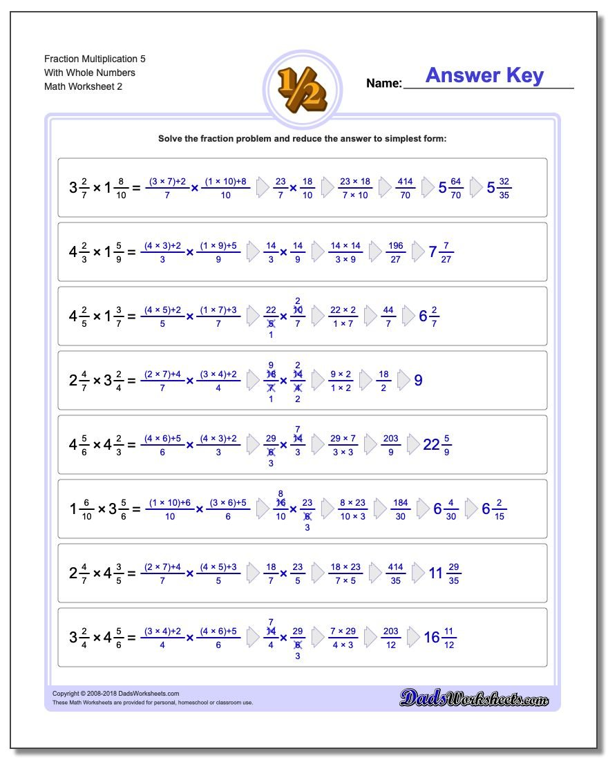Fraction Worksheet Multiplication Worksheet 5 With Whole Numbers www.dadsworksheets.com/worksheets/fraction-multiplication.html