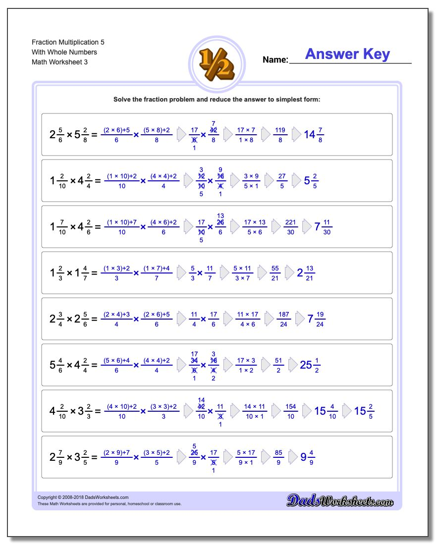 Fraction Worksheet Multiplication Worksheet 5 With Whole Numbers